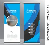 blue roll up business brochure... | Shutterstock .eps vector #795753151