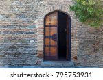 a half open wooden door of the... | Shutterstock . vector #795753931