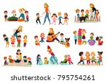 kindergarten icons set with... | Shutterstock .eps vector #795754261