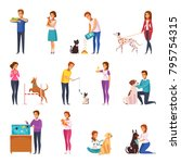 people with pets isolated icons ... | Shutterstock .eps vector #795754315