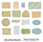 set of scraps paper pieces... | Shutterstock .eps vector #795754579