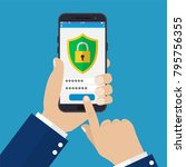 mobile security app on... | Shutterstock .eps vector #795756355