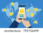 mobile bitcoin business. hand... | Shutterstock .eps vector #795756499