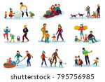 winter recreation family set... | Shutterstock .eps vector #795756985