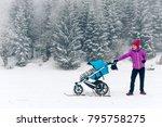 mother with baby stroller... | Shutterstock . vector #795758275
