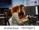 two female programmers working... | Shutterstock . vector #795758671