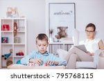 in the foreground  autistic... | Shutterstock . vector #795768115