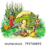 indian women  native american ... | Shutterstock .eps vector #795768895