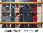 shelves with different socks in ...   Shutterstock . vector #795770005