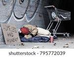 dirty tramp lying on blanket...   Shutterstock . vector #795772039