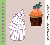 sweets coloring page for... | Shutterstock .eps vector #795778465