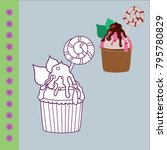 sweets coloring page for... | Shutterstock .eps vector #795780829