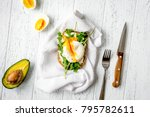 sandwich with poached eggs on...   Shutterstock . vector #795782611