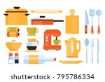 kitchen equipment collection of ... | Shutterstock .eps vector #795786334