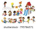 kids playing indoors set | Shutterstock .eps vector #795786571