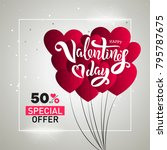valentine s day sale template... | Shutterstock .eps vector #795787675