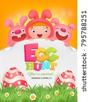 egg hunt template with girl and ... | Shutterstock .eps vector #795788251
