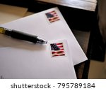 American flag stamps on letters ...