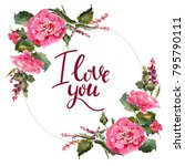 valentine flower wreath.... | Shutterstock . vector #795790111