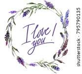 valentine flower wreath.... | Shutterstock . vector #795790135