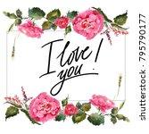 valentine flower wreath.... | Shutterstock . vector #795790177