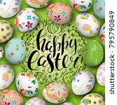 colorful realistic eggs and... | Shutterstock .eps vector #795790849
