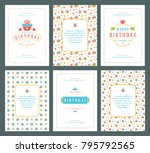 happy birthday greeting cards... | Shutterstock .eps vector #795792565