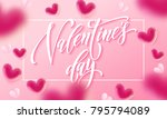 happy valentines day lettering... | Shutterstock .eps vector #795794089