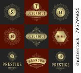 luxury logos templates set ... | Shutterstock .eps vector #795794635