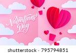 valentines day paper art... | Shutterstock .eps vector #795794851