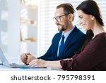 online conference. energetic... | Shutterstock . vector #795798391
