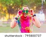 guy celebrate holi festival | Shutterstock . vector #795800737