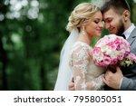 bride and groom in grey suit...   Shutterstock . vector #795805051