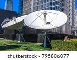 satellite dish antennas with... | Shutterstock . vector #795806077