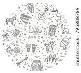 set of african ethnic style... | Shutterstock .eps vector #795808789