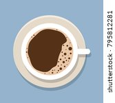 cup of coffee. flat vector... | Shutterstock .eps vector #795812281