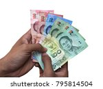 thai banknote money in hand ... | Shutterstock . vector #795814504