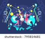 beautiful girls dancing on... | Shutterstock .eps vector #795814681