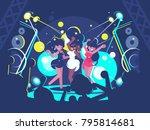beautiful girls dancing on... | Shutterstock .eps vector #795814681