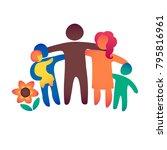 happy family icon multicolored... | Shutterstock .eps vector #795816961