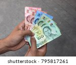 thai banknote money in hand ...   Shutterstock . vector #795817261