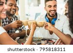 friends group drinking latte at ... | Shutterstock . vector #795818311