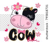 cartoon cute cow head with pink ... | Shutterstock .eps vector #795818731