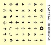 set of 49 black arrows to the... | Shutterstock .eps vector #795821971