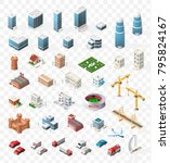 set of realistic isometric high ... | Shutterstock .eps vector #795824167