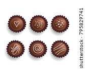 chocolate cookies set. sweet... | Shutterstock .eps vector #795829741