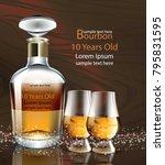 bourbon bottle and glasses... | Shutterstock .eps vector #795831595