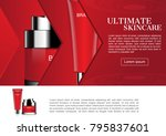 cosmetic set in red arrow icons ... | Shutterstock .eps vector #795837601