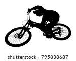 Cyclist Jump Downhill Mountain...