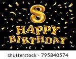 vector gold balloon font number ... | Shutterstock .eps vector #795840574